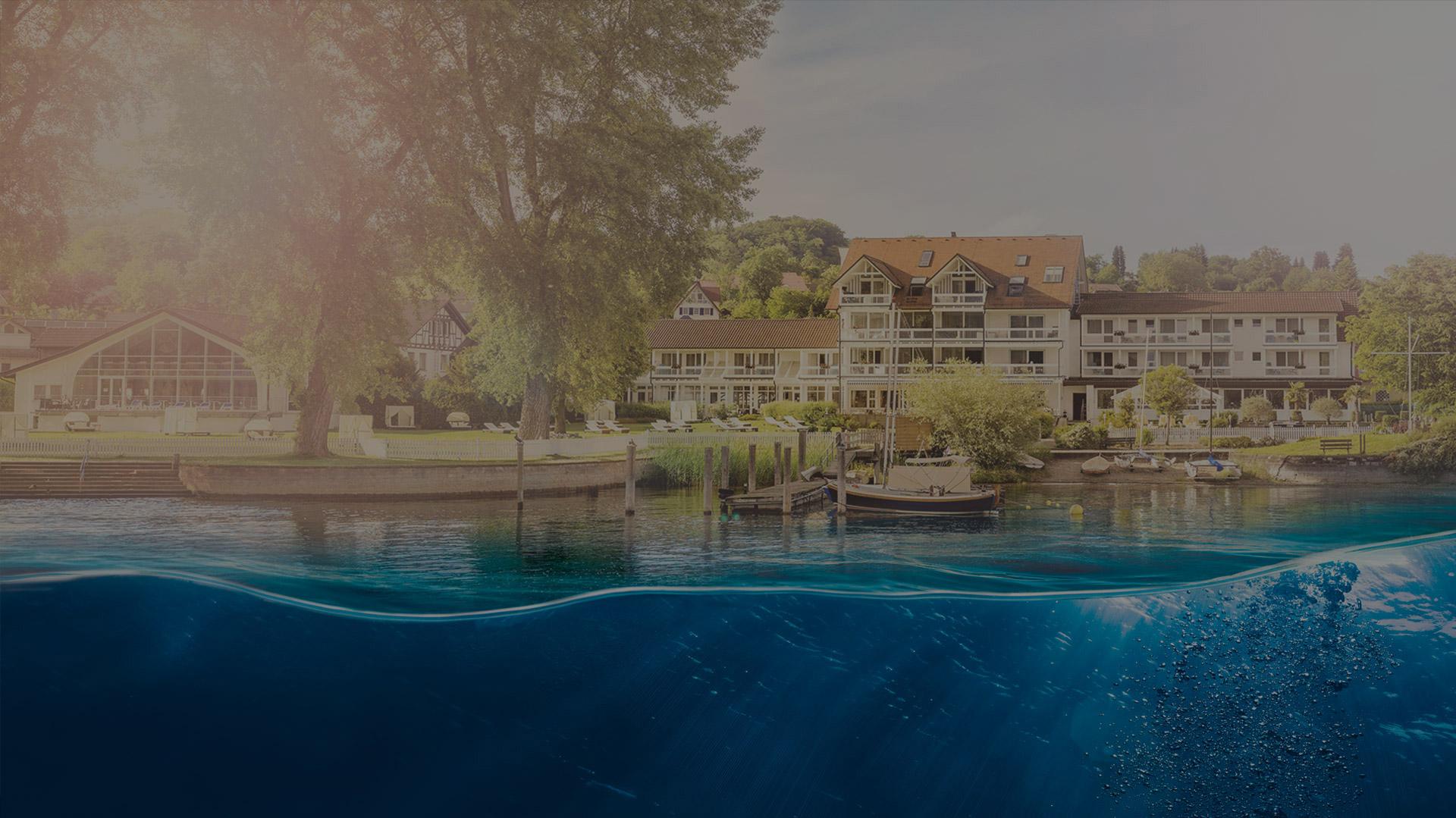 Blick vom Bodensee auf das Hotel HOERI