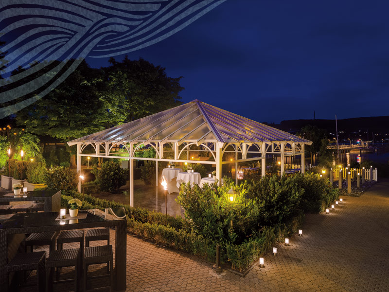 Hotel HOERI am Bodensee |Außenbereich Pavillion bei Nacht