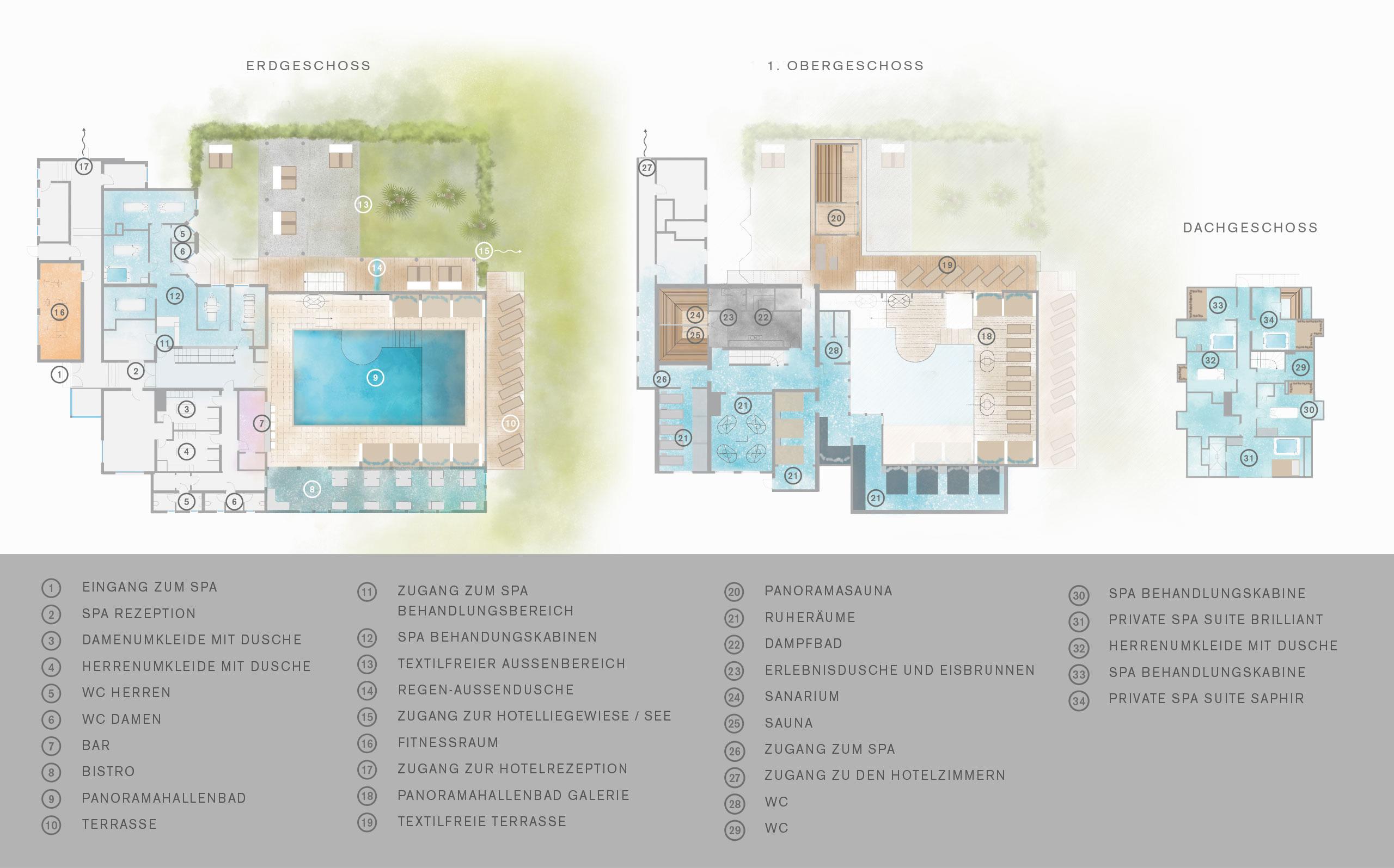 Plan des Wellnessbereichs vom SEE SPA vom Hotel Hoeri