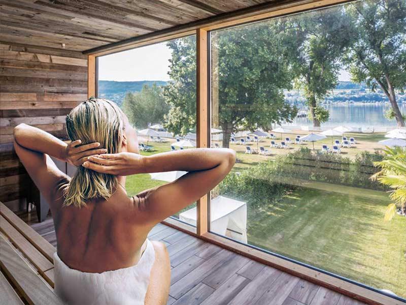 Wellness am Bodensee im HOERI SEE SPA | Entspannung bei einem Wellnesstag in der Sauna mit Seeblick